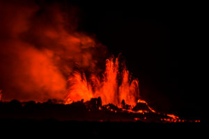 Lava fountains at night, eruption at the Holuhraun Fissure, near the Bardarbunga Volcano, Iceland.  August 29, 2014 a fissure eruption started in Holuhraun at the northern end of a magma intrusion, which had moved progressively north, from the Bardarbunga volcano.  Picture Date-Sept. 2, 2014