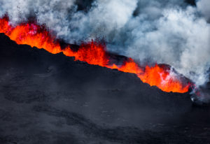 Volcano Eruption at the Holuhraun Fissure near Bardarbunga Volcano, Iceland.  August 29, 2014 a fissure eruption started in Holuhraun at the northern end of a magma intrusion, which had moved progressively north, from the Bardarbunga volcano. Picture Date-Sept. 1, 2014