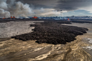 Lava and plumes from the Holuhraun Fissure by the Bardarbunga Volcano, Iceland. August 29, 2014, a fissure eruption started in Holuhraun at the northern end of a magma intrusion which had moved progressively north, from the Bardarbunga volcano. Picture date Sept 3, 2014.