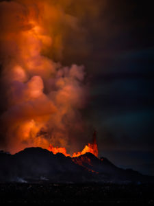 Lava and plumes from the Holuhraun Fissure by the Bardarbunga Volcano, Iceland. August 29, 2014 a fissure eruption started in Holuhraun at the northern end of a magma intrusion, which had moved progressively north, from the Bardarbunga volcano. Bardarbunga is a stratovolcano located under Vatnajokull, Iceland's most extensive glacier. Picture Date: Sept, 20, 2014