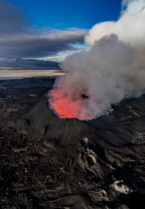 August 29, 2014, a fissure eruption occurred in Holuhraun at the northern end of a magma intrusion which had moved progressively north, from the Bardarbunga volcano. Bardarbunga is a stratovolcano located under Vatnajokull, Iceland's most extensive glacier. Picture Date-Sept. 28, 2014