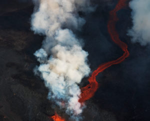 Aerial view of lava and steam. August 29, 2014 a fissure eruption started in Holuhraun at the northern end of a magma intrusion, which had moved progressively north, from the Bardarbunga volcano. Bardarbunga is a stratovolcano located under Vatnajokull, Iceland's most extensive glacier.  Picture Date: September 3, 2014