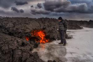 Glowing Lava flow, Holuhraun Fissure Eruption, Bardarbunga Volcano, Iceland