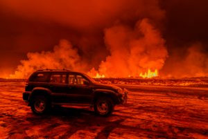 SUV close to the Eruption at Holuhraun, near the Bardarbunga Volcano, Iceland. August 29, 2014 a fissure eruption started in Holuhraun at the northern end of a magma intrusion, which had moved progressively north, from the Bardarbunga volcano. Picture Date-Sept. 2, 2014