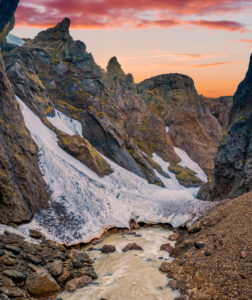 Asgardsgljufur canyon, Mt. Kerlingafjoll, Central highlands, Iceland