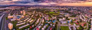 Aerial Laugardalur area, Reykjavik, Iceland