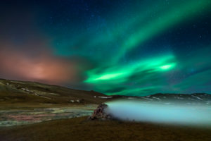 Aurora Borealis, Leirhnukur hot spring area, Namaskard, Iceland