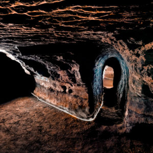 Caves of Hella, Iceland. Man made caves, could be made by Celts who inhabited Iceland before the official Norse settlement, late 9th century.