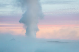 Close-up of steam from a borehole by The Bjarnarflag Geothermal Power Plant,  Lake Myvatn area, Northern Iceland