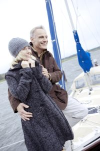 Yacht harbour, couple, embrace, falls in love,