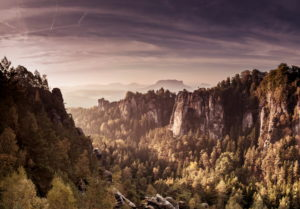 View to the Schrammsteinen of the Bastei