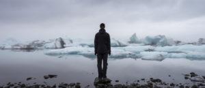 Iceland, enjoying the tranquility of the glacier lagoon Jökulsárlón
