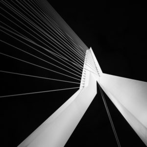 Erasmus Bridge in Rotterdam, night photography, fine art of architecture