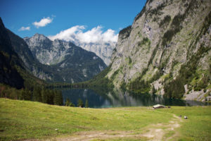 View to the Obersee (lake) with alp,