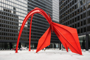 Chicago, art, sculpture 'Flamingo' by Alexander Calder,