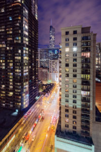 Chicago street canyon, view in the streets