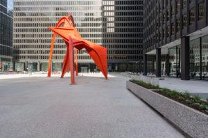 Chicago, art, sculpture 'flamingo' by Alexander Calder,