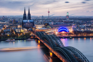 view over Cologne in the evening, North Rhine-Westphalia, Germany