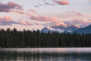 Sunset on the lake, Mount Edith Cavell, Jasper National Park, Canada