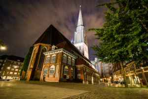 Hamburg, night photography, long time exposure, St. James' Church