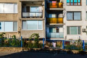 House facade with balconies in Obzor, Black Sea coast, Bulgaria
