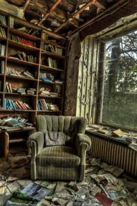 old armchair in an abandoned house