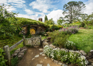New Zealand, Hobbiton Movie Set, Landscape, Earth House,