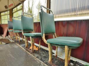 abandoned tram, seats,