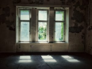 Lost Place, old ailing hall, window