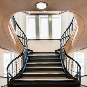 stairway in the Montanhof, Hamburg, Montanhof, Kontorhäuser / office buildings of Hamburg, digitally arranged
