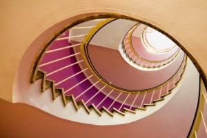 Stairs, view upwards, stairwell, houses of Munich, digitally arranged