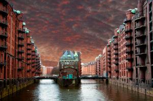 Hamburg, warehouse district, nightlights, red to red, [M]