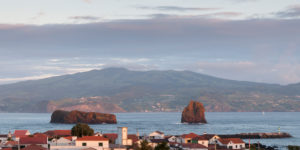 morning view from Madalena on Pico over the water to the neighboring island Faial