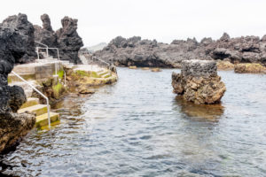 Seawater swimming pool in volcanic rock pools at Biscoitos