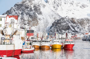 Fishing boats in the port of Henningsvaer