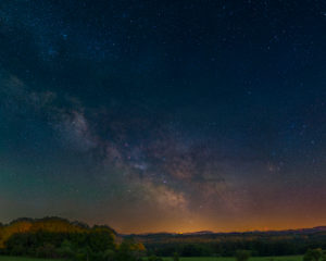 The Milky Way in front of an Alpine panorama
