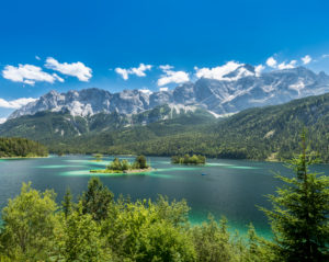 On the way at the Eibsee under the Zugspitze, Bavaria, Germany
