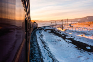 Trans-Siberian Railway during the trip in winter with sunset atmosphere, Siberia, Russia