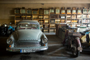 Collection of old things from the socialism in garage in Bulgaria
