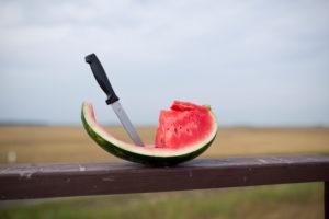 Messer steckt in aufgeschnittenem Melonenstück auf einem Holzbalken