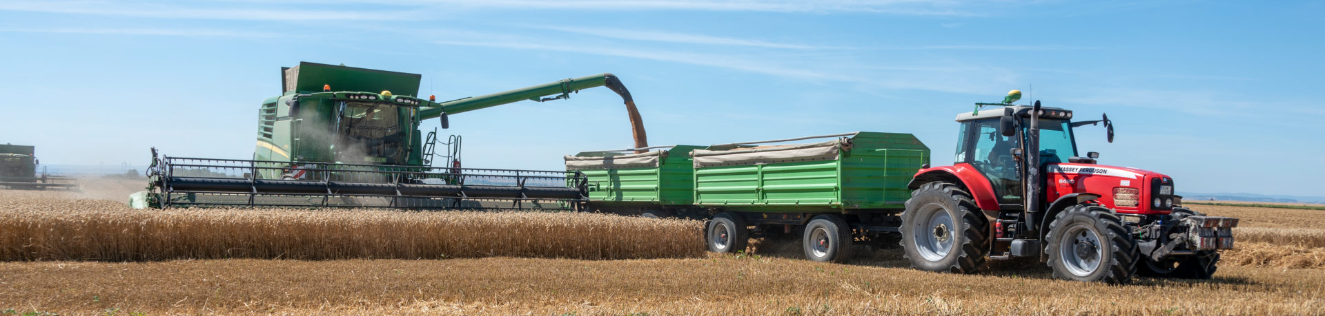Combine harvester and tractor during the grain harvest