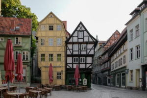 Germany, Saxony-Anhalt, Quedlinburg, half-timbered houses, UNESCO, World Heritage Site.