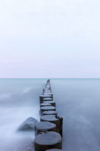 Germany, Mecklenburg-Western Pomerania, Wustrow, breakwater, groynes, Baltic Sea.