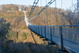 Germany, Saxony-Anhalt, Upper Harz, rope suspension bridge TitanRT, Rappbodetalsperre, Harz.