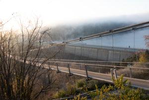 Deutschland, Sachsen-Anhalt, Oberharz, Seilhängebrücke TitanRT, Rappbodetalsperre, Harz.
