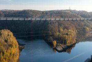 Deutschland, Sachsen-Anhalt, Oberharz, Deutschland, Sachsen-Anhalt, Oberharz, Seilhängebrücke TitanRT, Rappbodetalsperre, Harz.