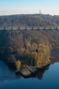 Germany, Saxony-Anhalt, Upper Harz, Germany, Saxony-Anhalt, Upper Harz, rope suspension bridge TitanRT, Rappbodetalsperre, Harz.