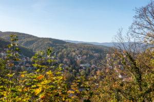 Deutschland, Sachsen-Anhalt, Wernigerode, Blick auf Wernigerode, Herbstlaub, Harz.