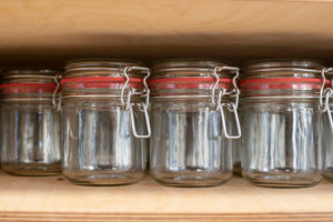 View of jars for filling food in an unwrapped shop