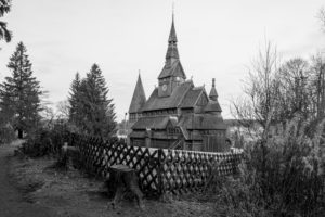 Germany, Lower Saxony, Harz, Goslar, Gustav Adolf Stave Church in Hahnenklee, built 1907 - 1908, modeled on the Stave Church of Borgund in Norway.